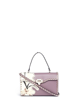 Main View - Click To Enlarge - Valentino - 'Rockstud' floral print patch leather satchel