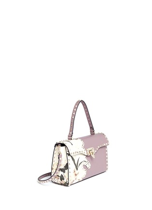 Figure View - Click To Enlarge - Valentino - 'Rockstud' floral print patch leather satchel