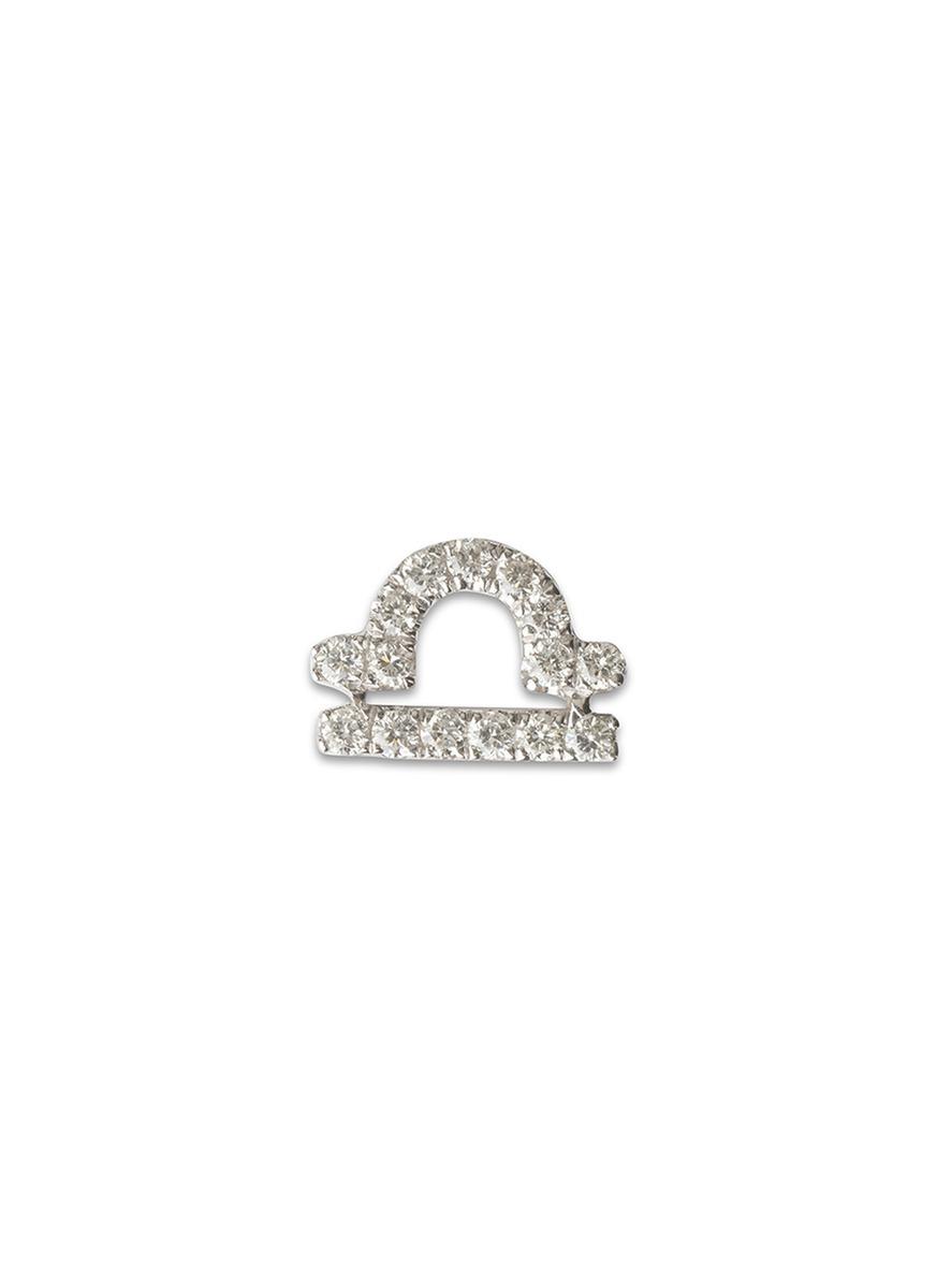 LOQUET LONDON 18K White Gold Diamond Zodiac Charm - Libra