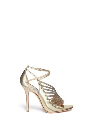 Main View - Click To Enlarge - Jimmy Choo - 'Fabris' glitter lamé trim mirror leather sandals