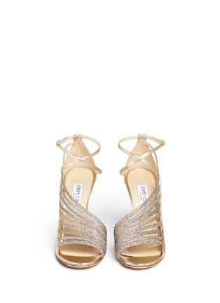 Figure View - Click To Enlarge - Jimmy Choo - 'Fabris' glitter lamé trim mirror leather sandals