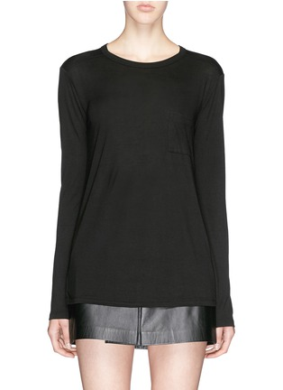Main View - Click To Enlarge - T By Alexander Wang - Patch chest pocket long sleeve T-shirt