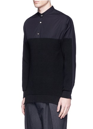 Front View - Click To Enlarge - FFIXXED STUDIOS - Knit front cotton poplin unisex shirt