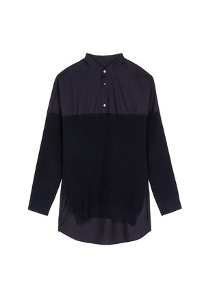 Main View - Click To Enlarge - FFIXXED STUDIOS - Knit front cotton poplin unisex shirt