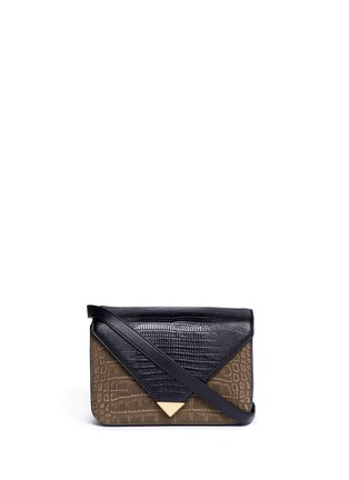 Main View - Click To Enlarge - ALEXANDERWANG - 'Prisma' small croc lizard embossed sling crossbody bag