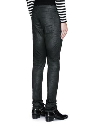 Back View - Click To Enlarge - SAINT LAURENT - Slim fit coated stretch denim jeans
