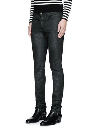Front View - Click To Enlarge - SAINT LAURENT - Slim fit coated stretch denim jeans