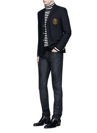 Figure View - Click To Enlarge - SAINT LAURENT - Slim fit coated stretch denim jeans