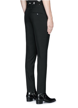 Back View - Click To Enlarge - SAINT LAURENT - Slim fit wool gabardine pants
