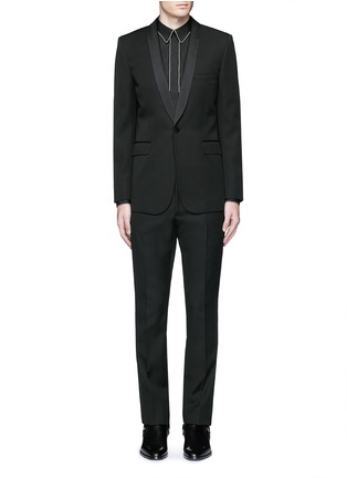 Main View - Click To Enlarge - SAINT LAURENT - Satin shawl lapel wool tuxedo suit