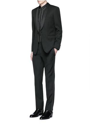 Figure View - Click To Enlarge - SAINT LAURENT - Satin shawl lapel wool tuxedo suit