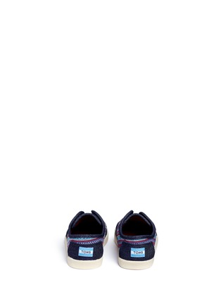Back View - Click To Enlarge - 90175 - Tiny Paseo geometric contrast denim toddler slip-ons