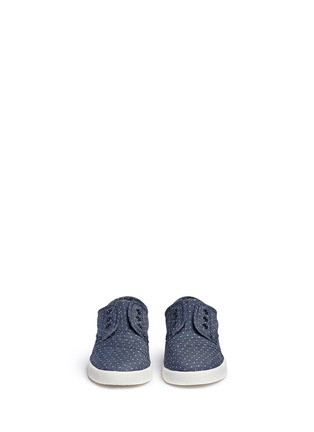 Figure View - Click To Enlarge -  - Tiny Paseo dot print chambray toddler slip-ons