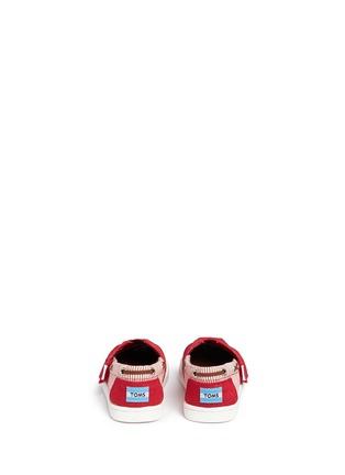 Back View - Click To Enlarge - 90175 - Tiny Bimini stripe burlap toddler slip-ons