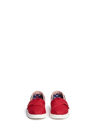 Figure View - Click To Enlarge - 90175 - Tiny Bimini stripe burlap toddler slip-ons