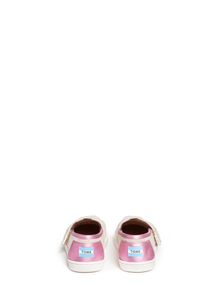 Back View - Click To Enlarge - 90175 - Tiny Classic glitter stripe woven toddler slip-ons