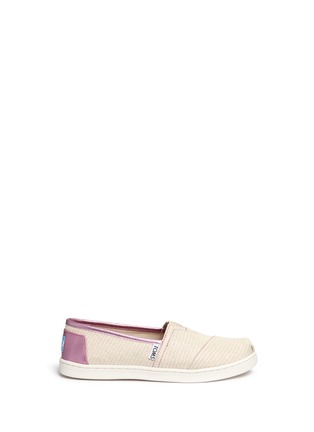 Main View - Click To Enlarge - 90175 - Youth Classic glitter stripe woven kids slip-ons