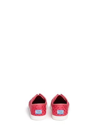 Back View - Click To Enlarge - 90175 - Tiny Paseo heart print canvas toddler slip-ons