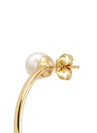 Detail View - Click To Enlarge - Phyne By Paige Novick - 'Building Blocks' diamond pavé pearl 18k yellow gold hoop earrings