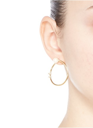 Figure View - Click To Enlarge - Phyne By Paige Novick - 'Building Blocks' diamond pavé pearl 18k yellow gold hoop earrings