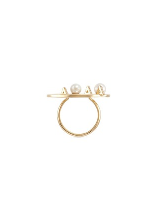 Front View - Click To Enlarge - Phyne By Paige Novick - 'Building Blocks' diamond pearl 18k yellow gold ring