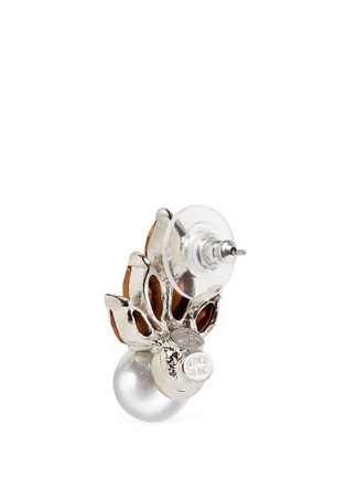 Detail View - Click To Enlarge - Kenneth Jay Lane - Crystal fan faux pearl stud earrings