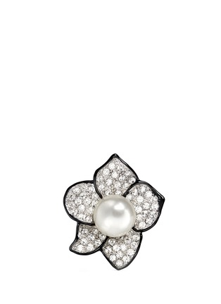Main View - Click To Enlarge - KENNETH JAY LANE - Faux pearl crystal pavé flower ring