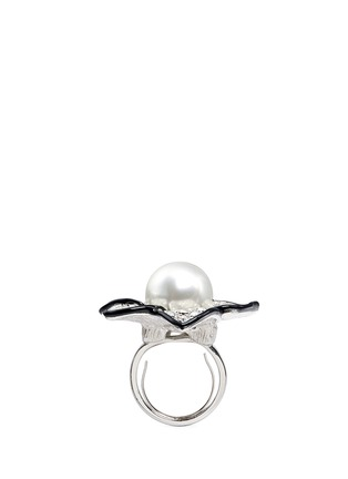 Figure View - Click To Enlarge - KENNETH JAY LANE - Faux pearl crystal pavé flower ring