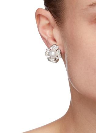 Figure View - Click To Enlarge - KENNETH JAY LANE - Crystal pavé flower stud earrings