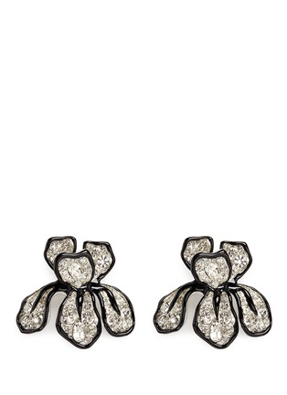 Main View - Click To Enlarge - Kenneth Jay Lane - Crystal pavé floral iris stud earrings