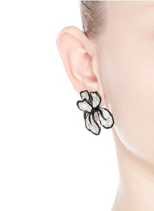 Figure View - Click To Enlarge - Kenneth Jay Lane - Crystal pavé floral iris stud earrings