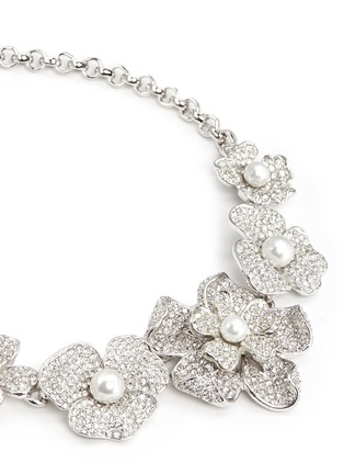 Detail View - Click To Enlarge - KENNETH JAY LANE - Crystal pavé glass pearl floral necklace