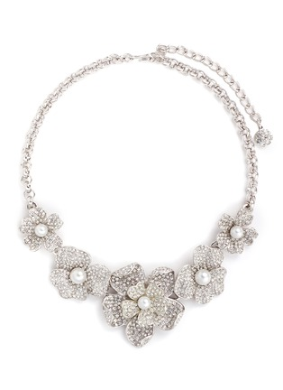 Main View - Click To Enlarge - KENNETH JAY LANE - Crystal pavé glass pearl floral necklace