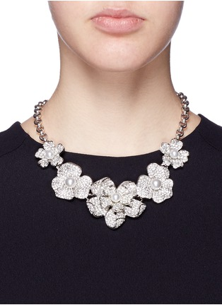 Figure View - Click To Enlarge - KENNETH JAY LANE - Crystal pavé glass pearl floral necklace