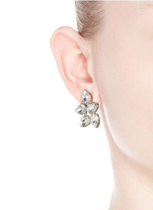 Figure View - Click To Enlarge - Kenneth Jay Lane - Teardrop crystal cluster stud earrings