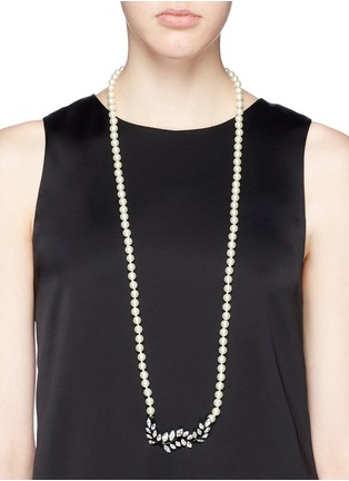 Figure View - Click To Enlarge - Kenneth Jay Lane - Crystal pavé leaf faux pearl necklace