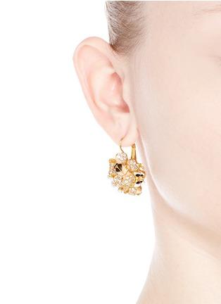 Figure View - Click To Enlarge - KENNETH JAY LANE - Crystal pavé flower bug drop earrings