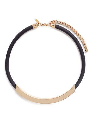 Main View - Click To Enlarge - Kenneth Jay Lane - Curved bar pendant rubber necklace