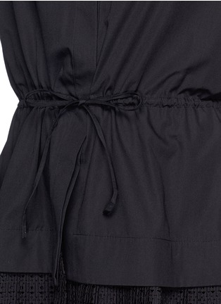 Detail View - Click To Enlarge - AZZEDINE ALAÏA - 'Vienne' geometric cutout plissé pleat drawstring shirt