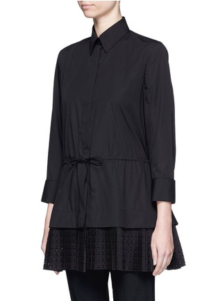 Front View - Click To Enlarge - AZZEDINE ALAÏA - 'Vienne' geometric cutout plissé pleat drawstring shirt