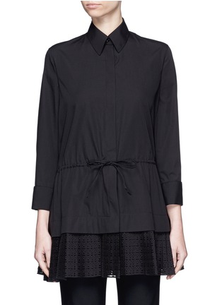 Main View - Click To Enlarge - AZZEDINE ALAÏA - 'Vienne' geometric cutout plissé pleat drawstring shirt