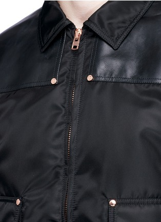 Detail View - Click To Enlarge - GIVENCHY - Studded leather panel padded blouson jacket