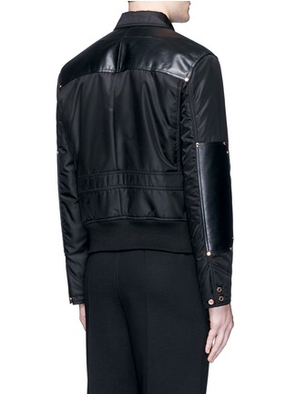 Back View - Click To Enlarge - GIVENCHY - Studded leather panel padded blouson jacket