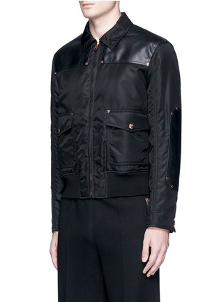 Front View - Click To Enlarge - GIVENCHY - Studded leather panel padded blouson jacket