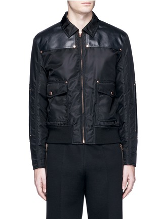 Main View - Click To Enlarge - GIVENCHY - Studded leather panel padded blouson jacket