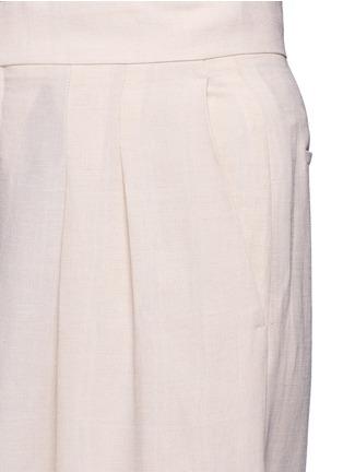 Detail View - Click To Enlarge - Chloé - Pleat linen blend wide leg pants