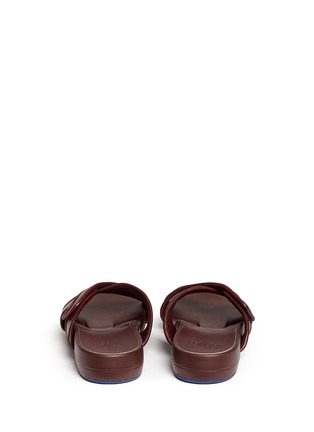 Back View - Click To Enlarge - Figs By Figueroa - 'Figomatic' leather strap hinged slide sandals