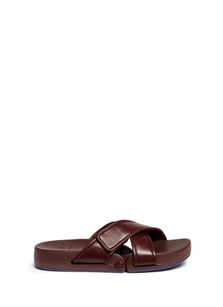 Main View - Click To Enlarge - Figs By Figueroa - 'Figomatic' leather strap hinged slide sandals