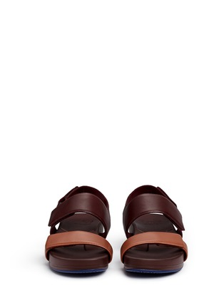 Front View - Click To Enlarge - Figs By Figueroa - 'Figulous' leather strap hinged slingback sandals
