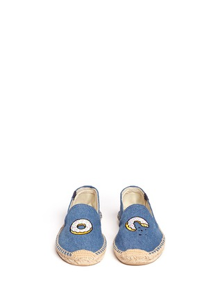 Front View - Click To Enlarge - Soludos - x Jason Palon 'Donut' embroidery denim espadrilles